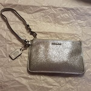 Sparkly Silver Coach Small wallet/change purse